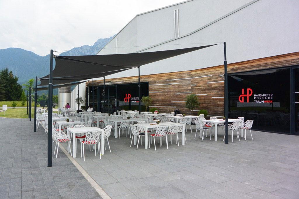 aerosun® Rollsegel (Sun Furl System) Gastronomiebereich, elektrisch, Sonnensegel rollbar mit Wetterstation