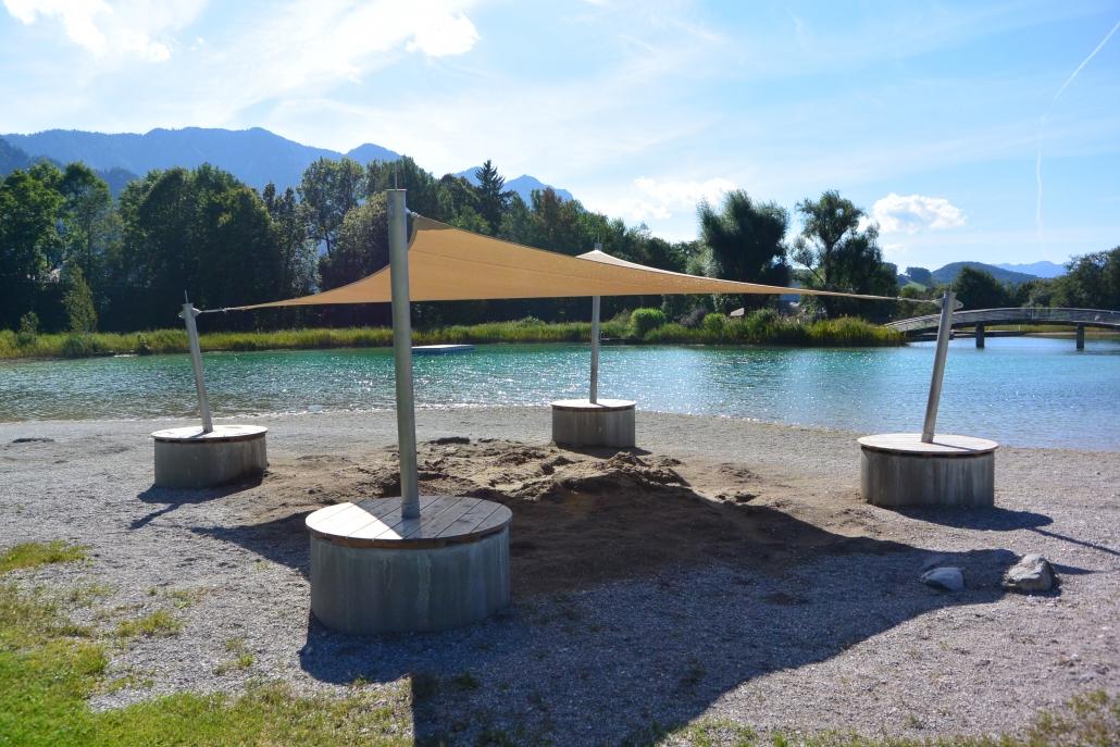 aeronautec Mehrpunkt Sonnensegel, Ganzjahressegel- Badepark Spielplatzüberdachung, Inzell, Badeplatz Sonnenschutz