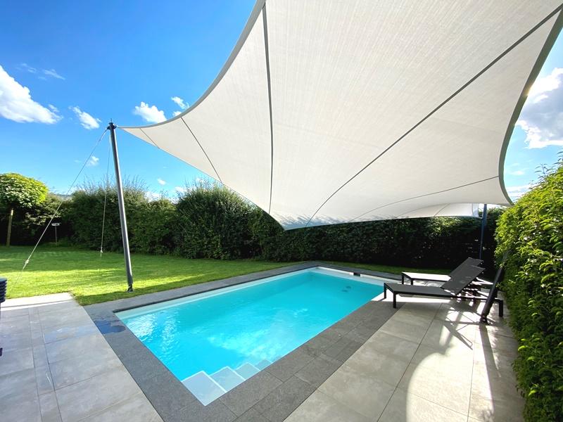 aeronautec- Mehrpunkt- Sonnensegel, Wetterschutz, wasserdicht, Pool, Poolbau, Beschattung, exklusiv