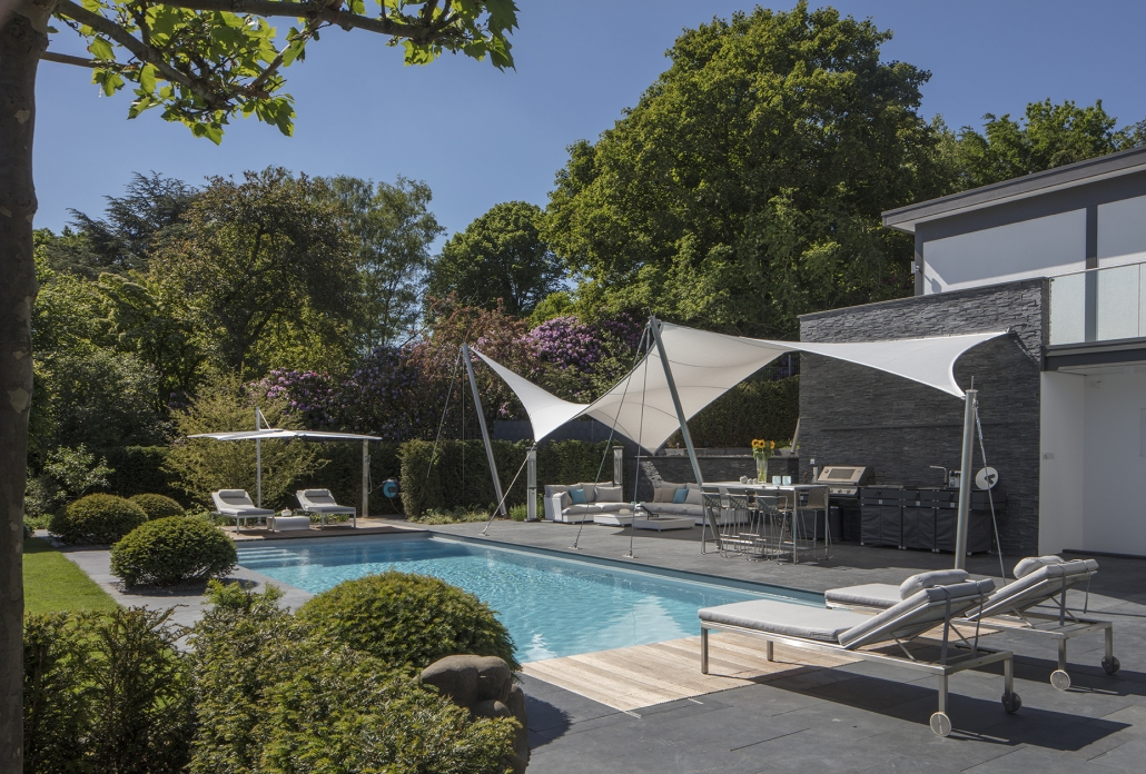 Poolbereich, Überdachung Pool, aeronautec Mehrpunkt- Sonnensegel, Ganzjahressegel- wasserdicht, schneefest & sturmsicher, optimaler Terrassenschutz
