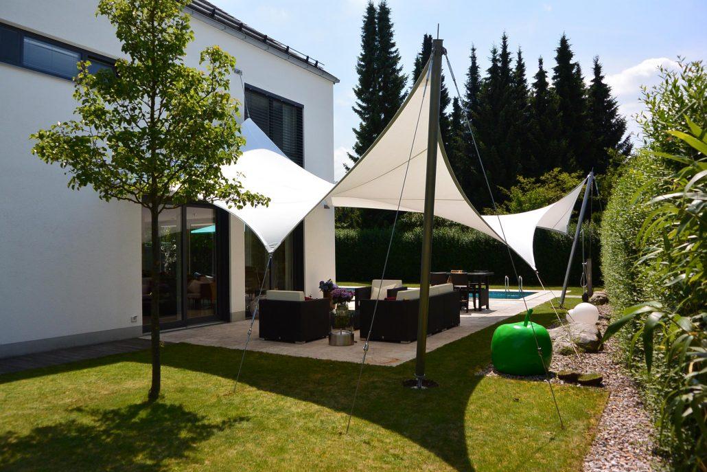 aeronautec Mehrpunkt- Sonnensegel, Ganzjahressegel- wasserdicht, schneefest & sturmsicher, optimaler Terrassenschutz