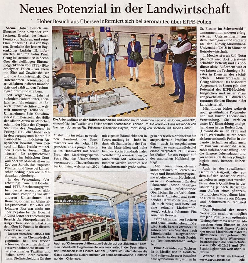 Pressebericht Passauer Presse- ETFE Folien