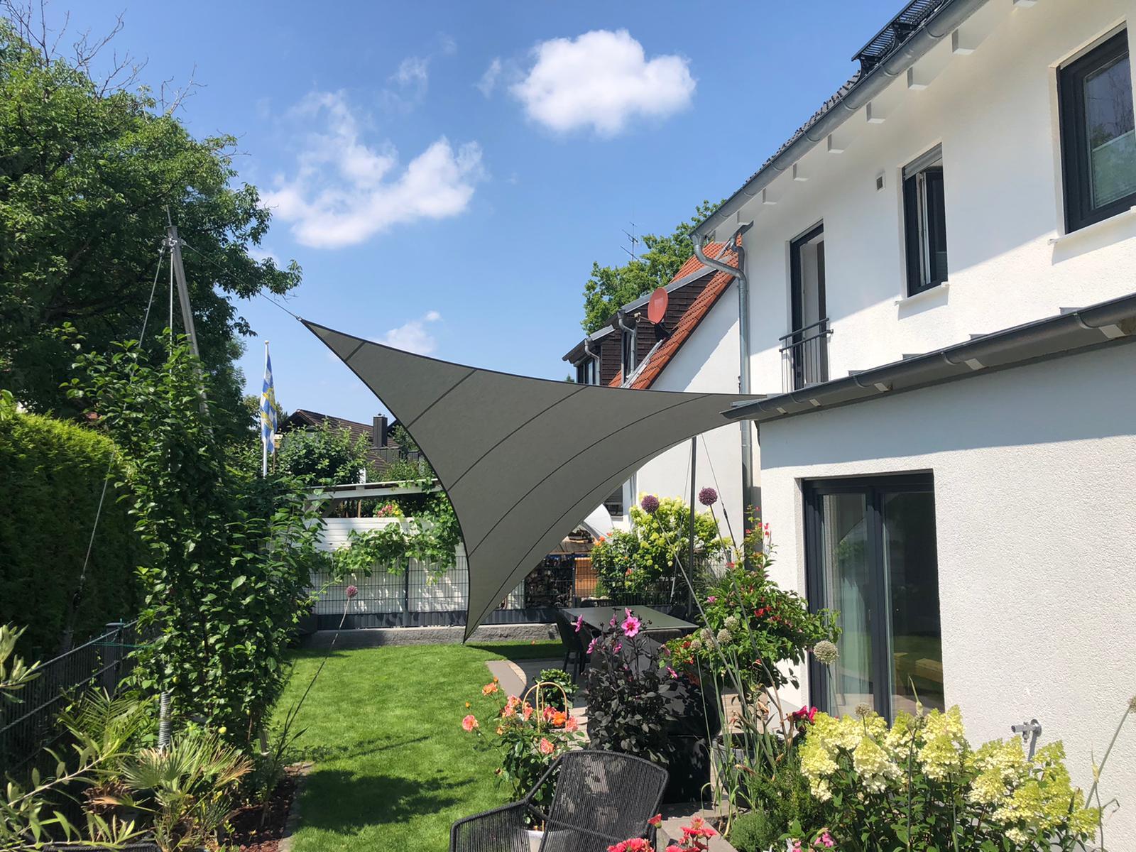 aerosun®180 4-Punkt Sonnensegel - wasserdicht & sturmsicher, flanell, 20 m² München